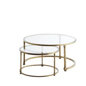 A set of coffee tables with glass top - Madam Stoltz