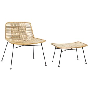 KIWI armchair with rattan / metal - Hübsch