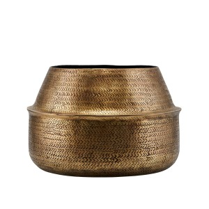 Planter RATTAN brass finish/ round - House Doctor