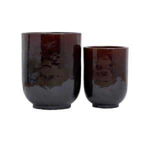 Set of 2 planters PHO dark brown - House Doctor