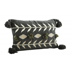 Embroidered cushion cover Titi gray- Madam Stoltz