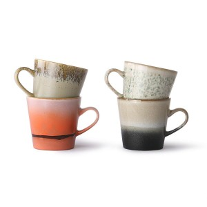 Set of 4 AMERICANO 70's ceramic mugs - HKliving