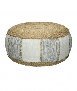 Light gray RAYU pouffe, cotton and jute   - Pomax