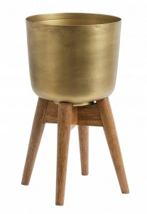 Flowerpot on stand, S, brass / wood - Nordal
