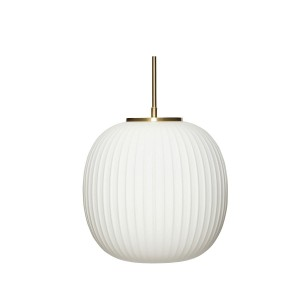 Lamp glass white brass- Hubsch