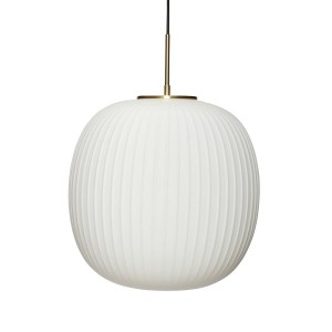 Large white brass glass lamp  - Hubsch