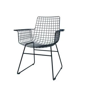 Metal WIRE chair with arms black- HKliving