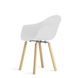 Armchair TA base natural oak wood, white seat - TOOU