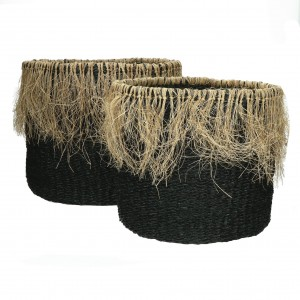 RAFFA - set/2 baskets - seagrass / jute, natural/black- POMAX
