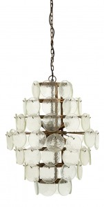 Hanging lamp, clear glass coins  - Nordal