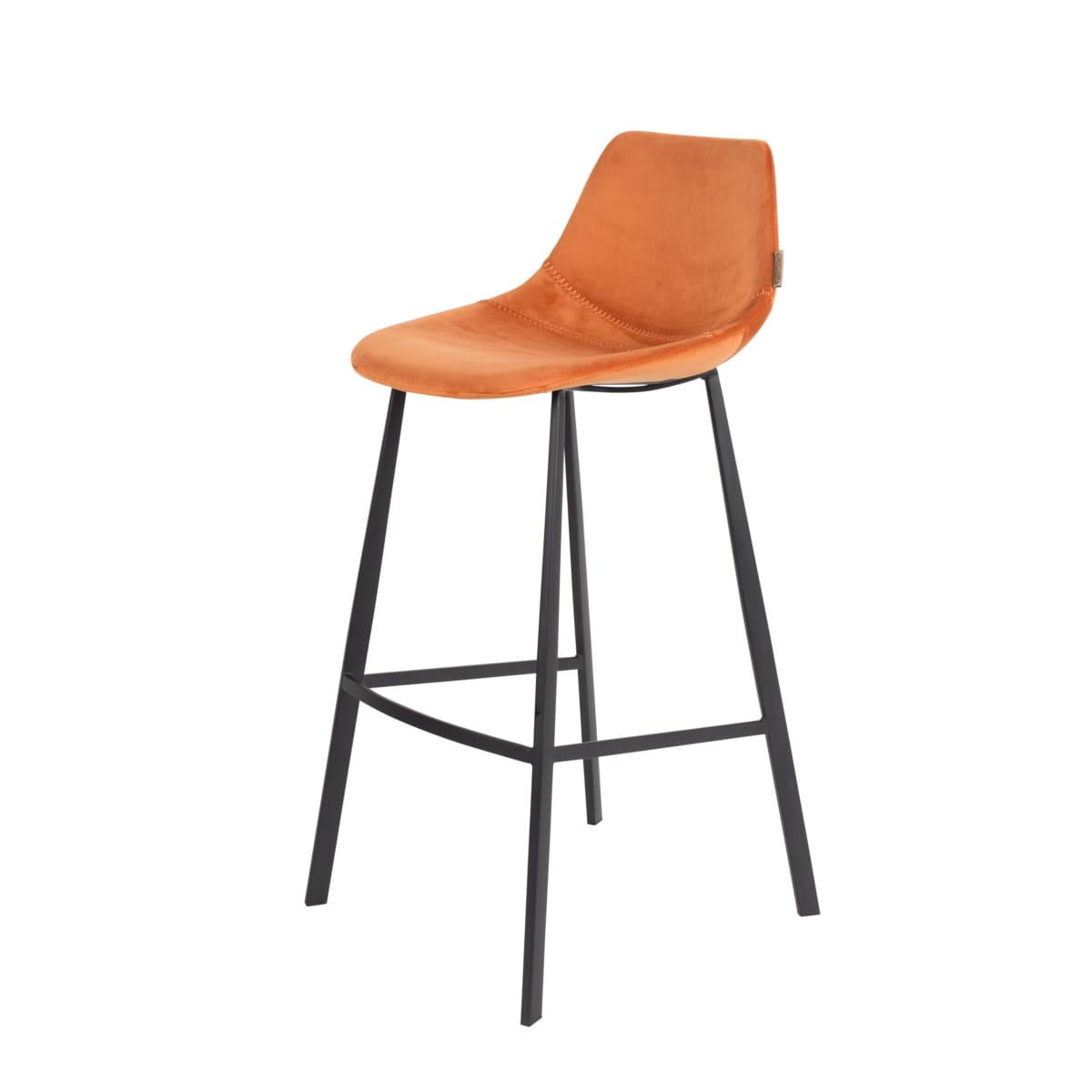 Fabulous Bar Stool Franky Velvet Orange Dutchbone Creativecarmelina Interior Chair Design Creativecarmelinacom