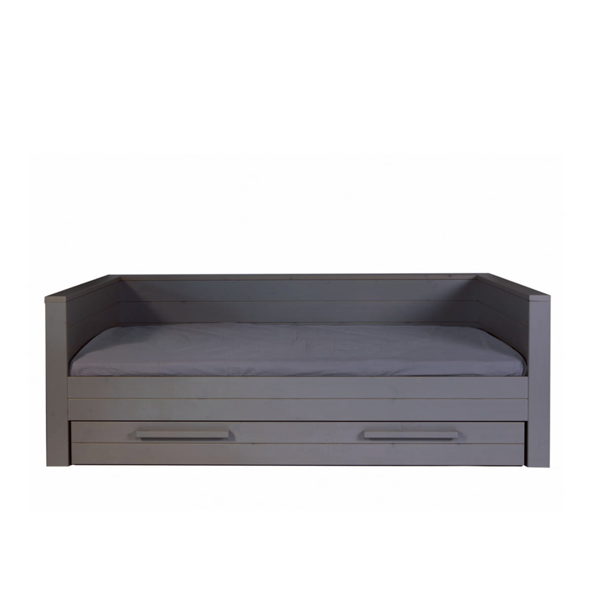 Woood Dennis Bed.Bed Dennis With Backrest Steel Grey Woood